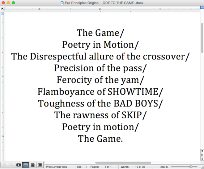 Pro Principles Ode To The Game Image