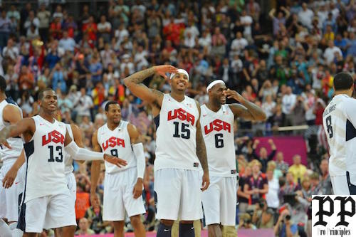 LONDON, ENGLAND - AUGUST 12: Chris Paul #13, Carmelo Anthony #15 and LeBron James #6 of the US Men's Senior National Team celebrates against Spain during their Men's Gold Medal Basketball Game on Day 16 of the London 2012 Olympic Games at the North Greenwich Arena on August 12, 2012 in London, England. NOTE TO USER: User expressly acknowledges and agrees that, by downloading and/or using this Photograph, user is consenting to the terms and conditions of the Getty Images License Agreement. Mandatory Copyright Notice: Copyright 2012 NBAE (Photo by Jesse D. Garrabrant/NBAE via Getty Images)